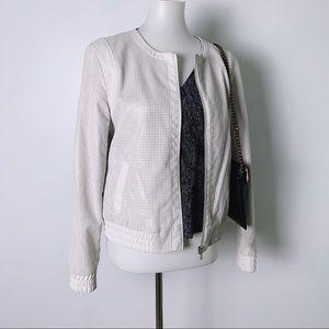 Bagatelle Perforated Vegan Leather Zip Up Jacket